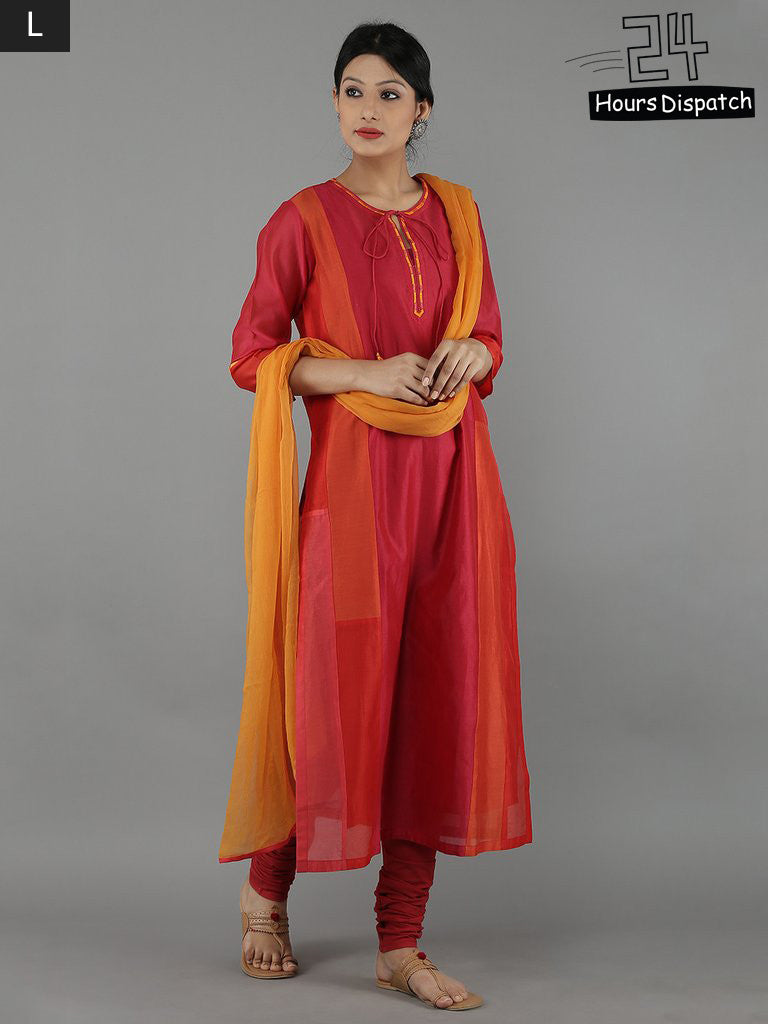 Red Chanderi Kurta and Maroon Churidar with Yellow Chiffon Dupatta - Set of 4