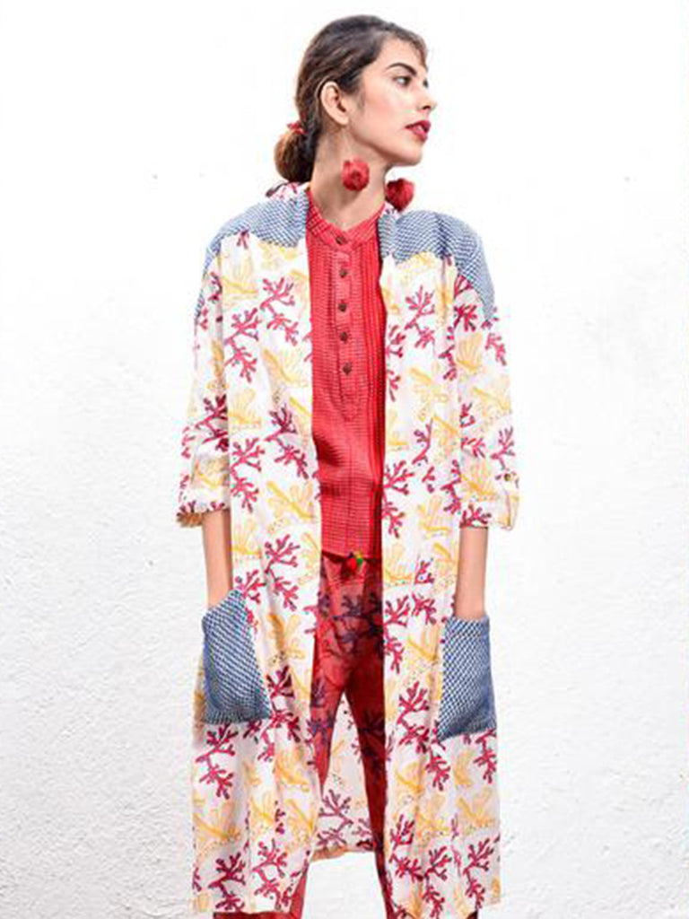 Red Hand Block Printed Cotton Coral Duster Jacket