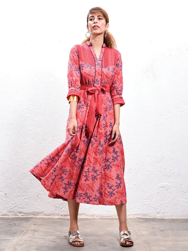 Red Hand Block Printed Cotton Coral Peasant Dress