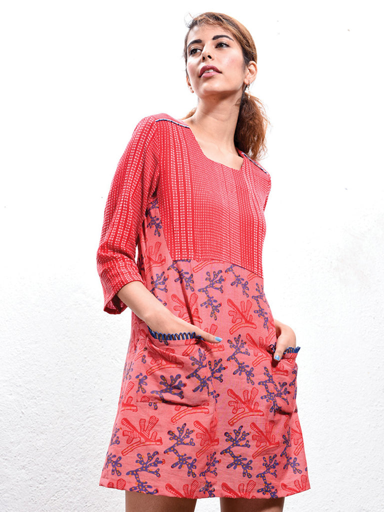Red Hand Block Printed Cotton Coral Shift Dress