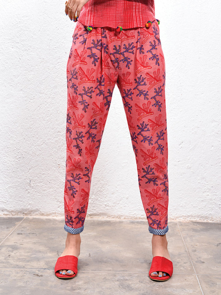 Red Hand Block Printed Cotton Coral Trousers
