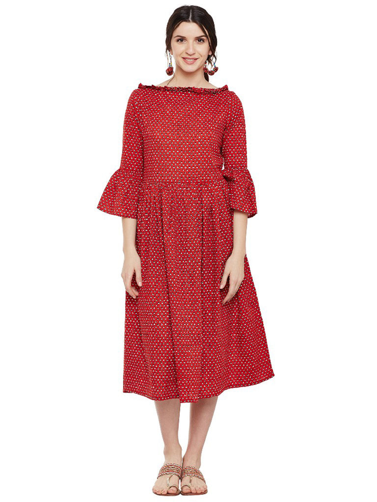 Red Cotton Block Printed Dress