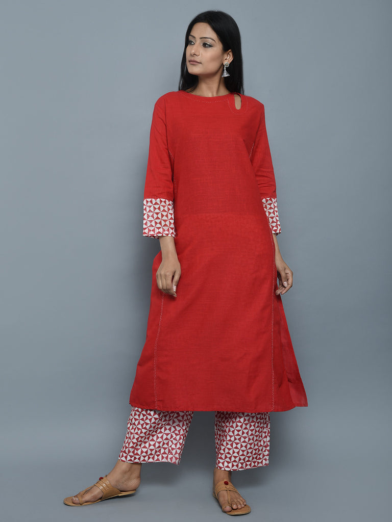 Red Cotton Block Printed Long Kurta