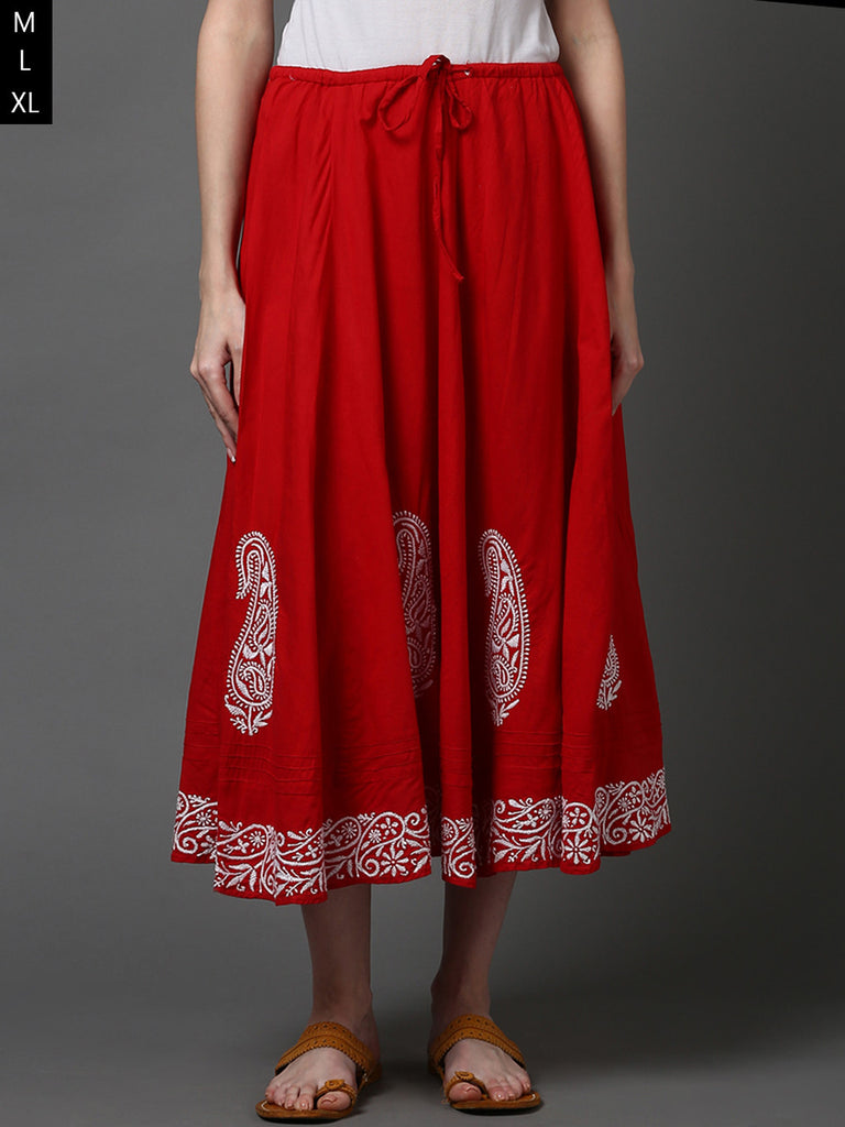 Red Cotton Fully Lined Skirt