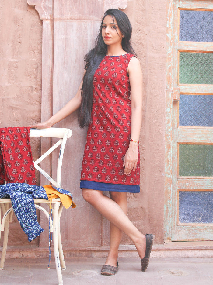 Red Cotton Hand Block Printed Dress