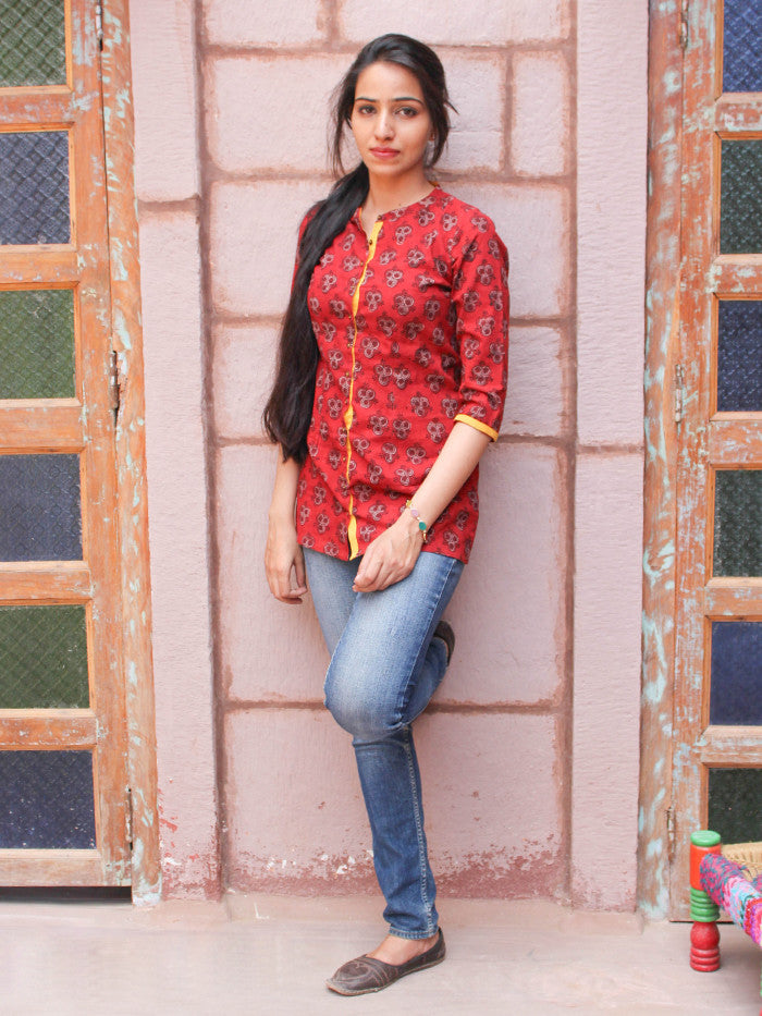 Red Cotton Hand Block Printed Top