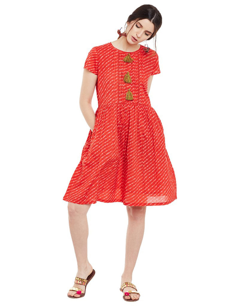 Red Cotton Leheriya Printed Short Dress