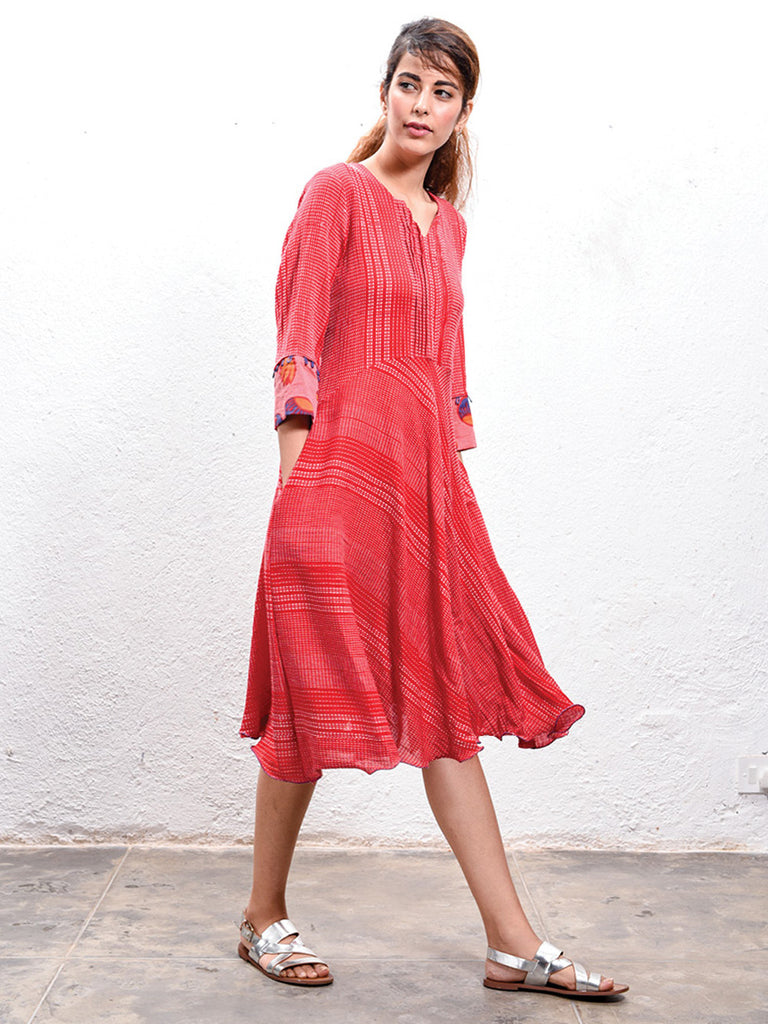 Red Hand Block Printed Cotton Midi Dress