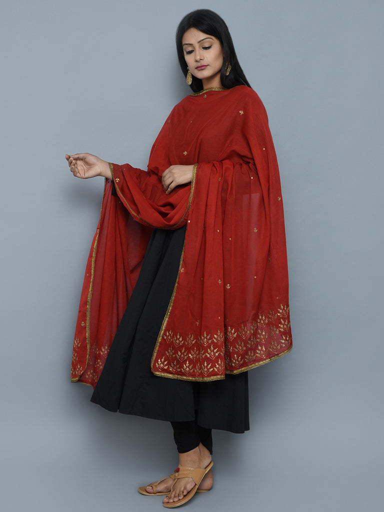 Red Cotton Mul Zardosi Embroidered Dupatta