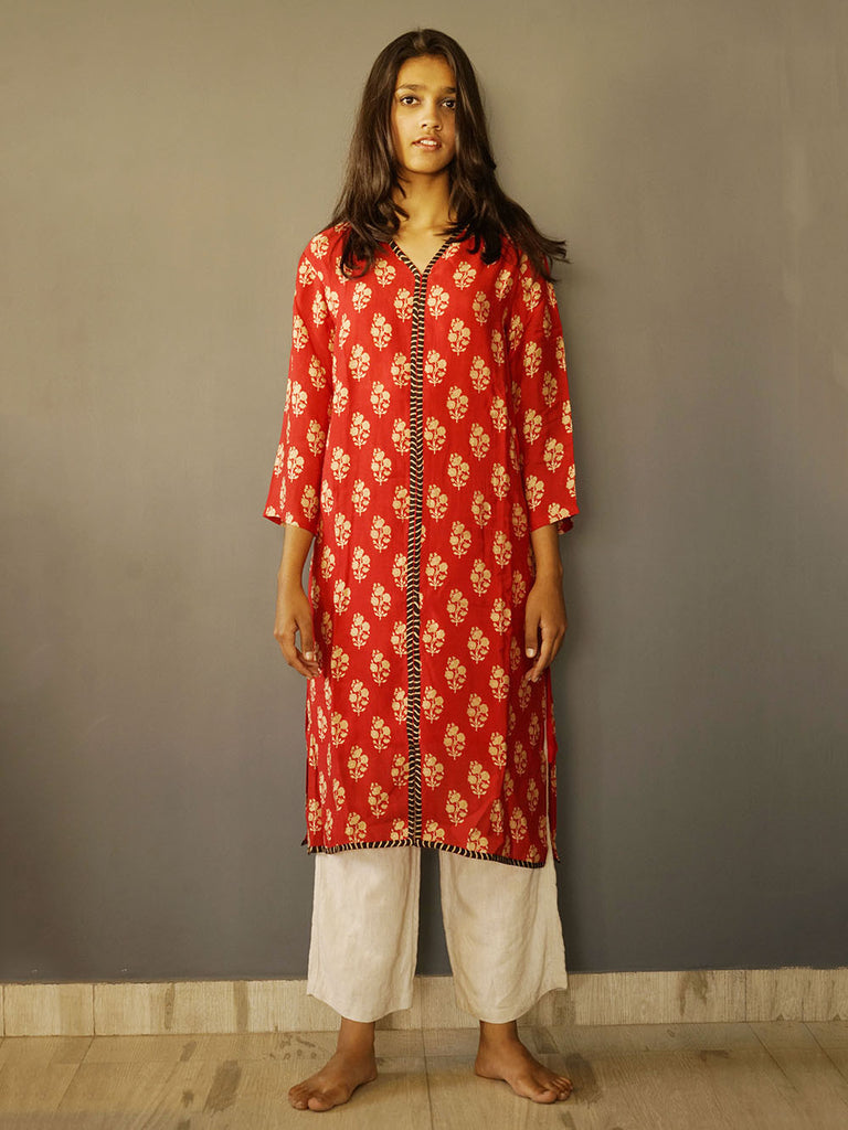 Red Cotton Satin Floral Print Kurta