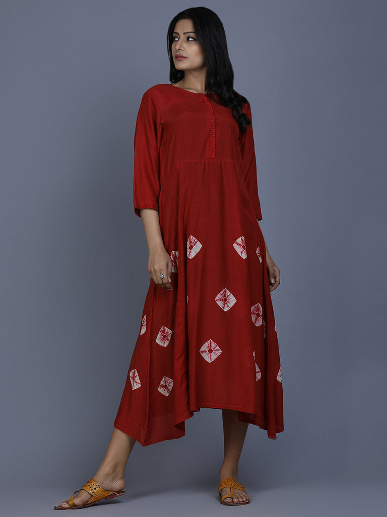 Red Cotton Silk Bandhej Dress
