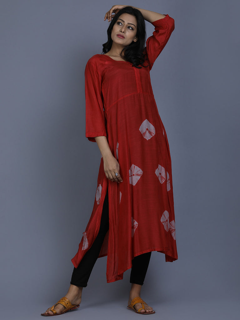 Red Cotton Silk Bandhej Tunic