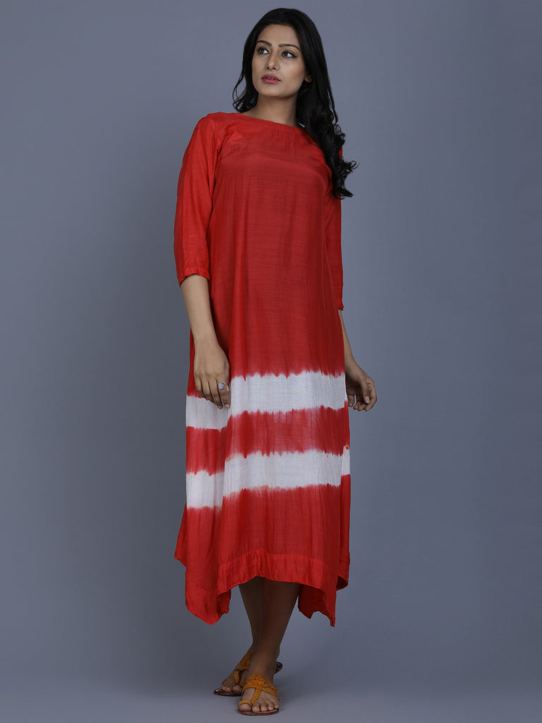 Red Cotton Silk Batik Dress
