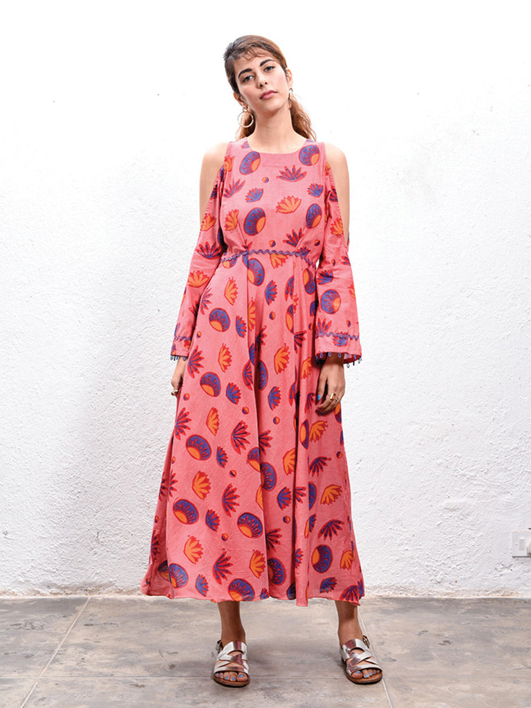 Red Hand Block Printed Cotton Cut Out Dress