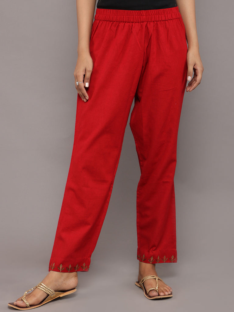 Red Embroidered Khadi Pants