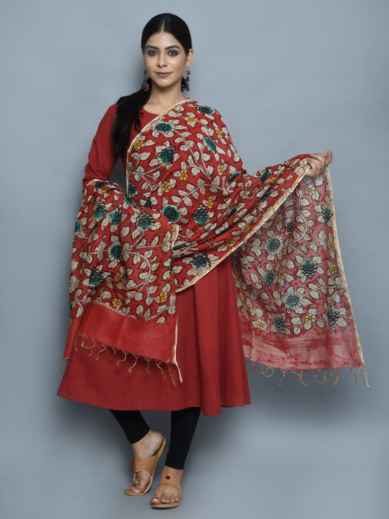 Red Emerald Greenj Chanderi Hand Painted Kalamkari Dupatta