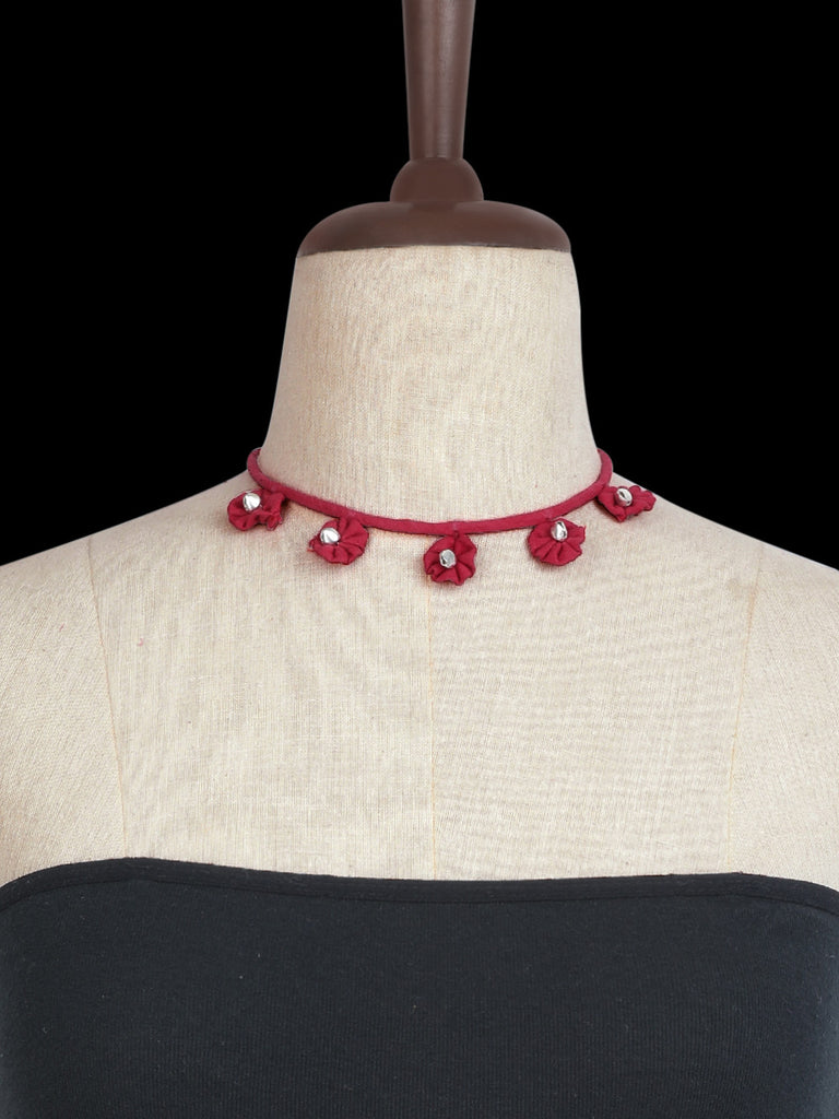 Red Floral Ghungroo Choker