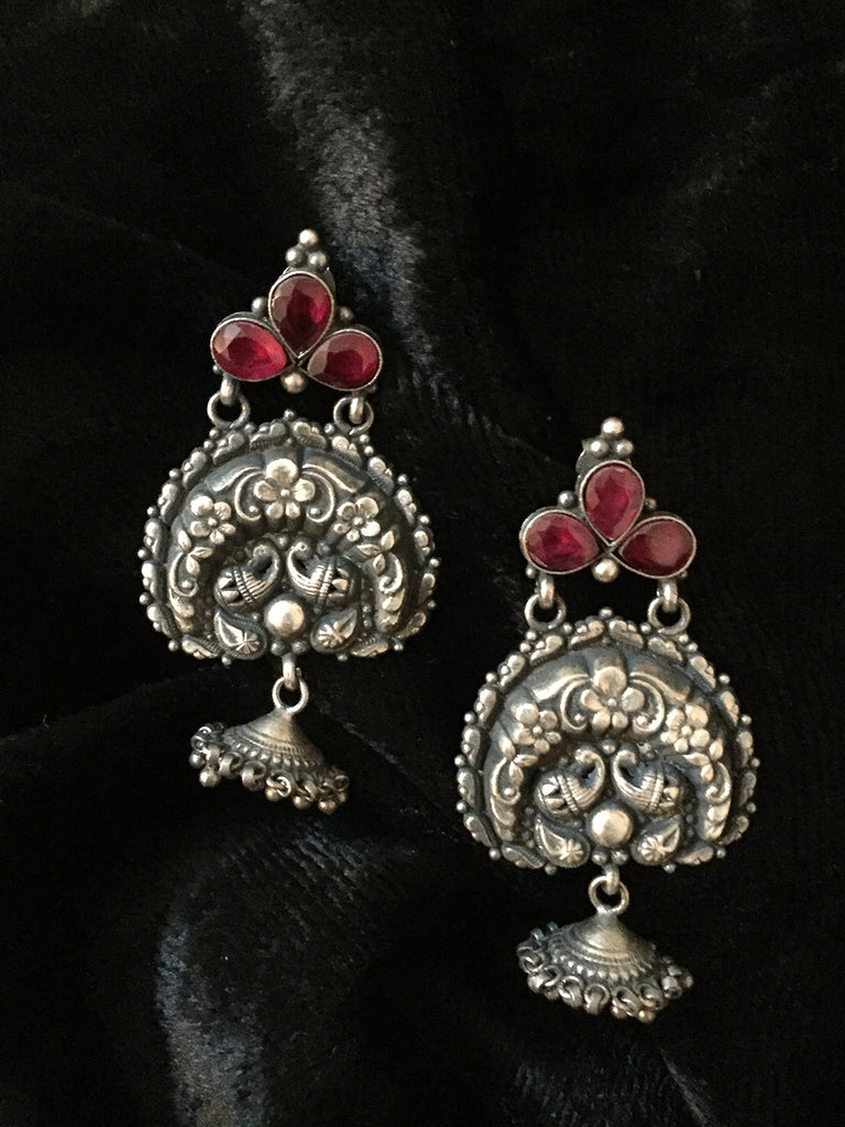 Red Glass Temple Chand Silver Jhumkies