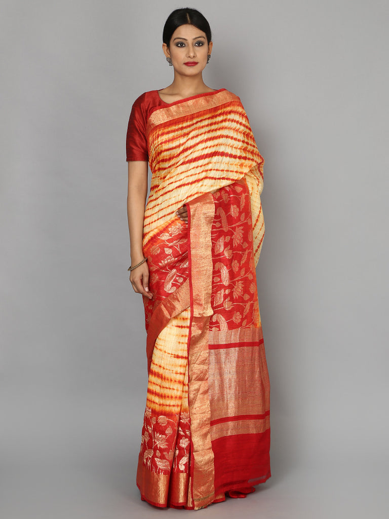 Red Hand Woven Banarasi Cotton Silk Saree