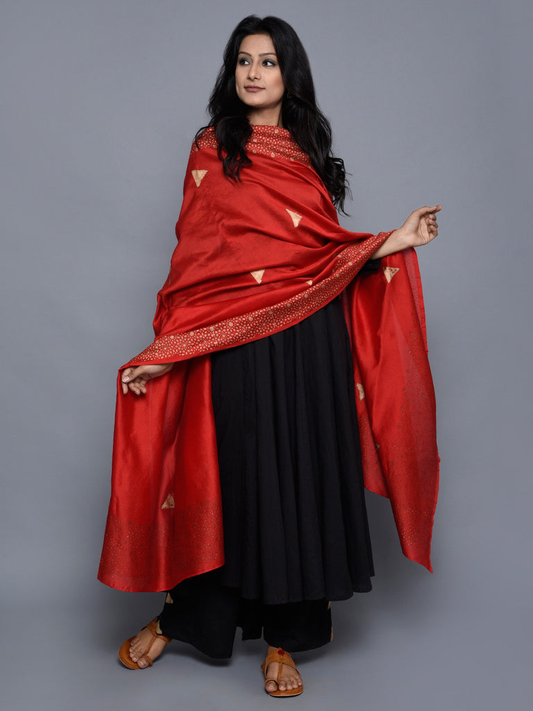 Red Golden Triangle Chanderi Dupatta