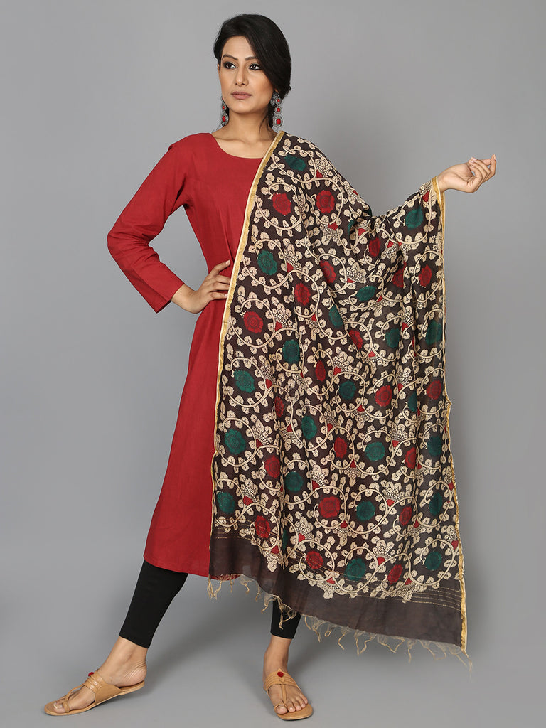 Red Green Flower Chanderi Hand Painted Kalamkari Dupatta
