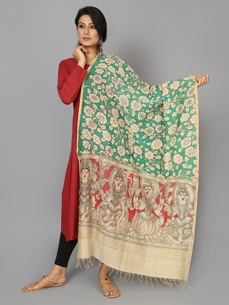 Red Green Godess Chanderi Hand Painted Kalamkari Dupatta