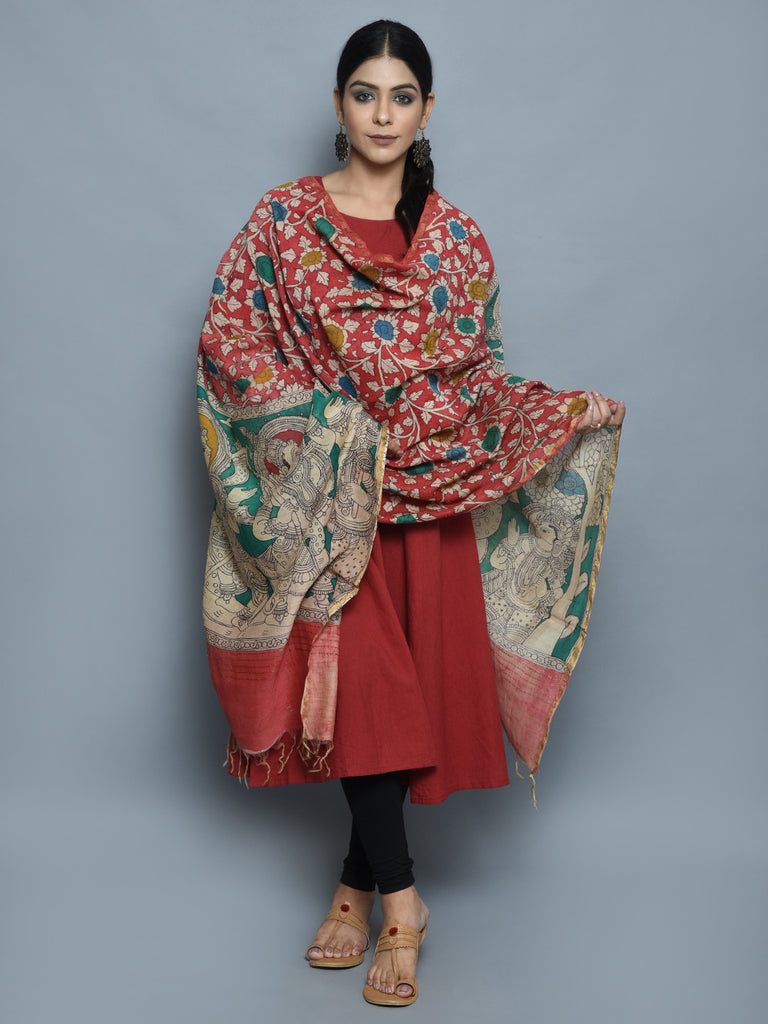 Red Green Lord Rama Chanderi Hand Painted Kalamkari Dupatta