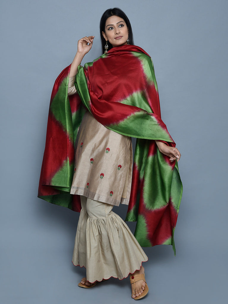 Red Green Tie and Dye Chanderi Dupatta