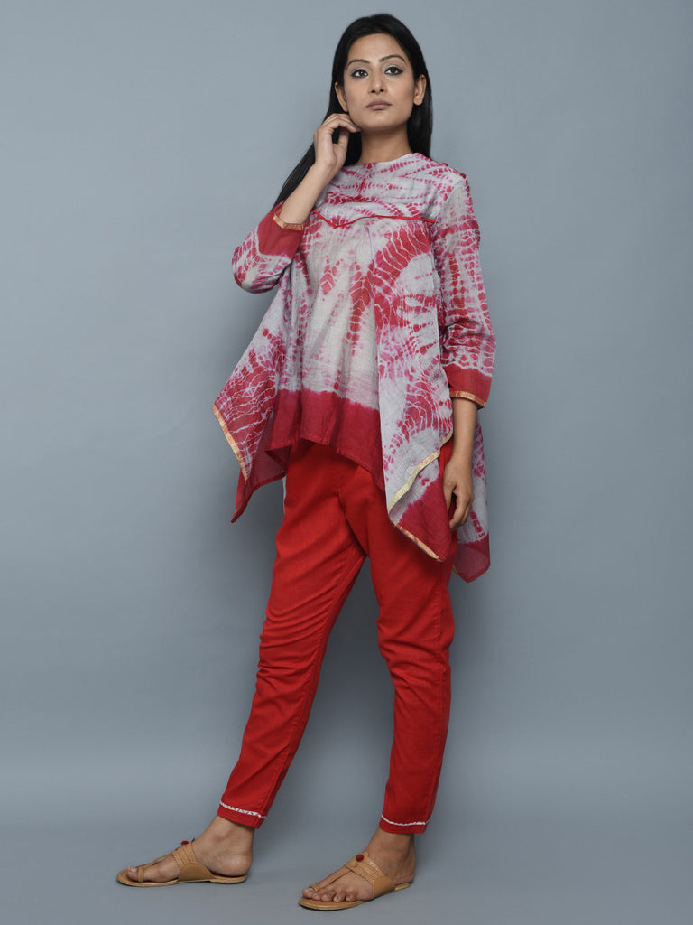 Red Grey Chanderi Shibori Asymmetrical Top