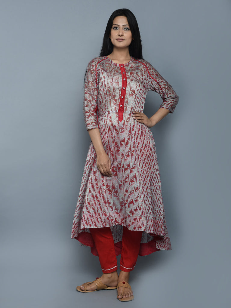 Red Grey Chanderi Shibori Dyed Asymmetrical Kurta