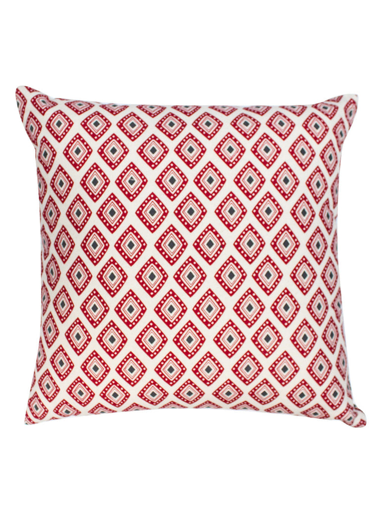 Red Grey Cotton Baholo Reversible Cushion Cover