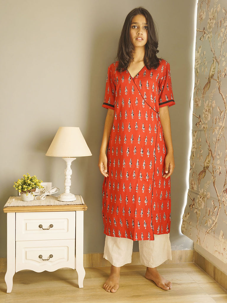 Red Grey Cotton Satin Angrakha Style Kurta