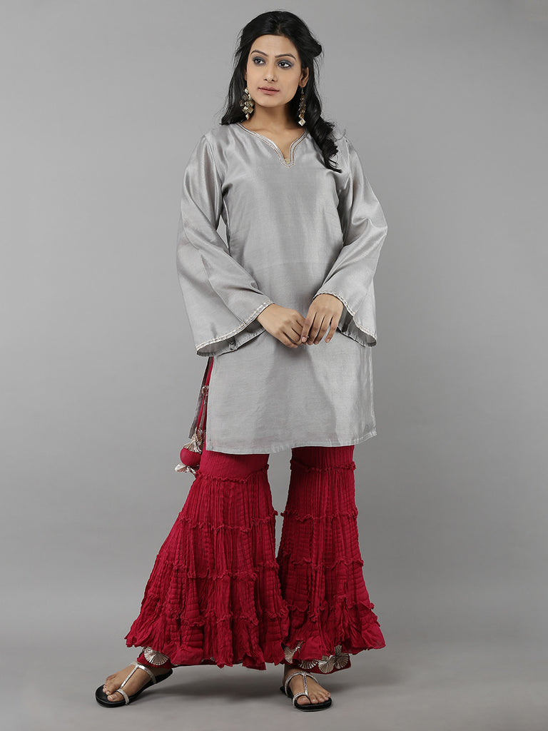 Grey Chanderi Kurta