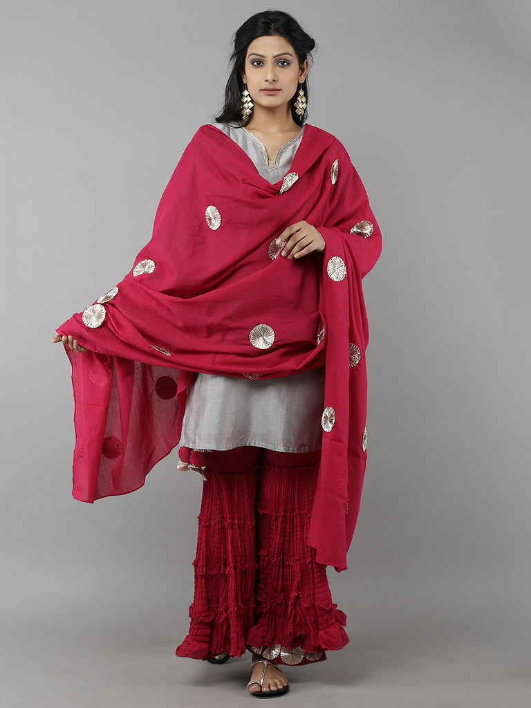Wine Red-Grey Sharara Set with Dupatta - 3 Piece