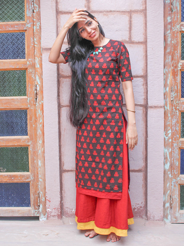 Red Hand Block Printed Cotton Palazzo