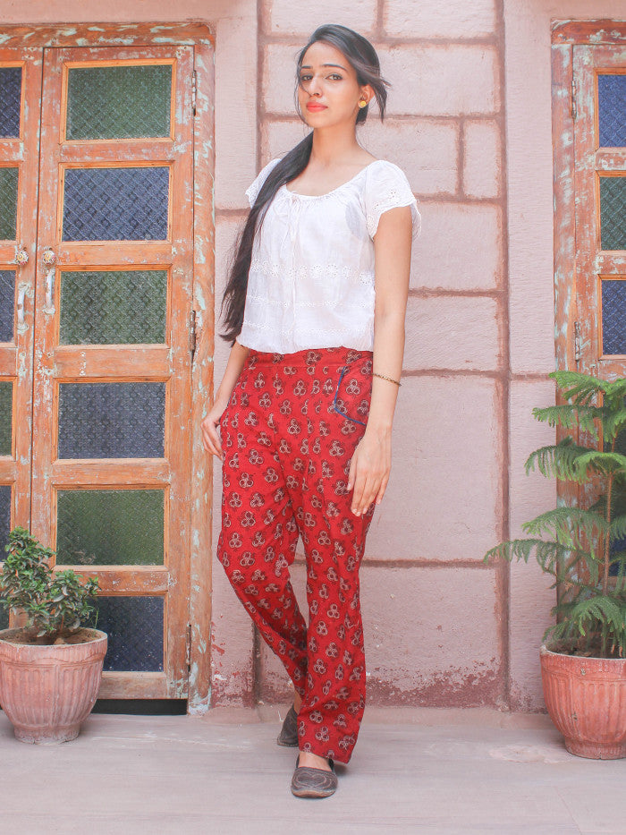 Red Hand Block Printed Cotton Pants