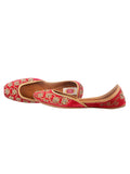 Red Hand Embroidered Leather Mojari