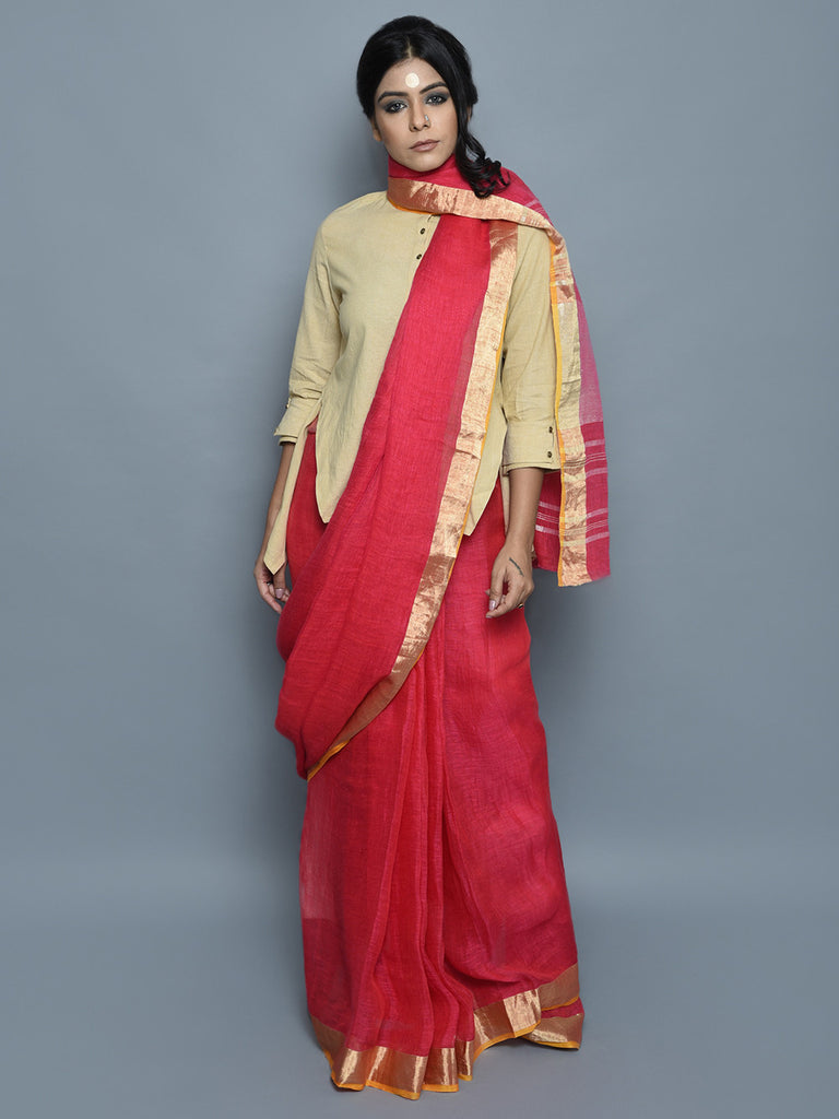 Red Handwoven Linen Saree