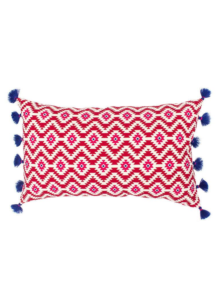 Red Ikasa Cotton Cushion Cover