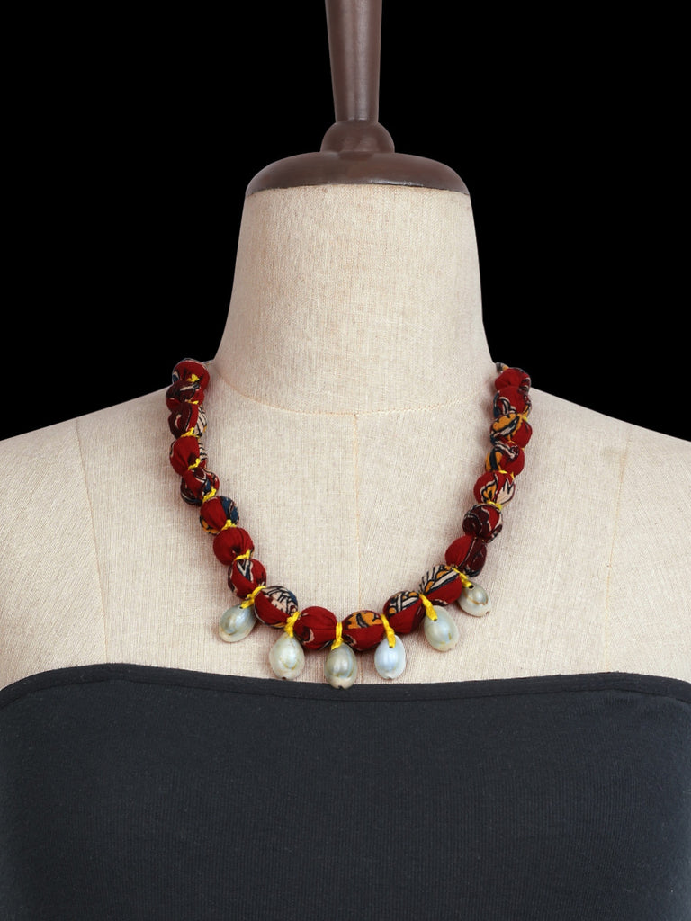 Maroon Kalamkari Hand Crafted Shell Necklace