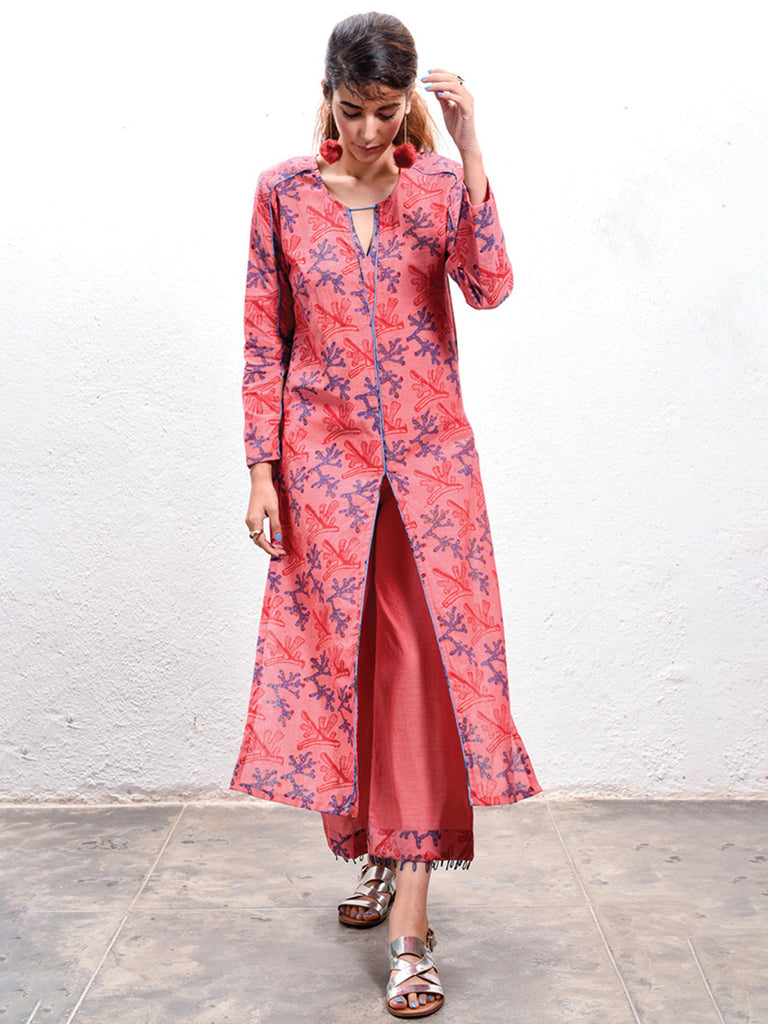 Red Hand Block Printed Coral Kurta