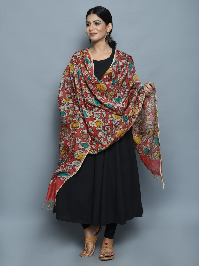 Red Leaf Flower Chanderi Hand Painted Kalamkari Dupatta