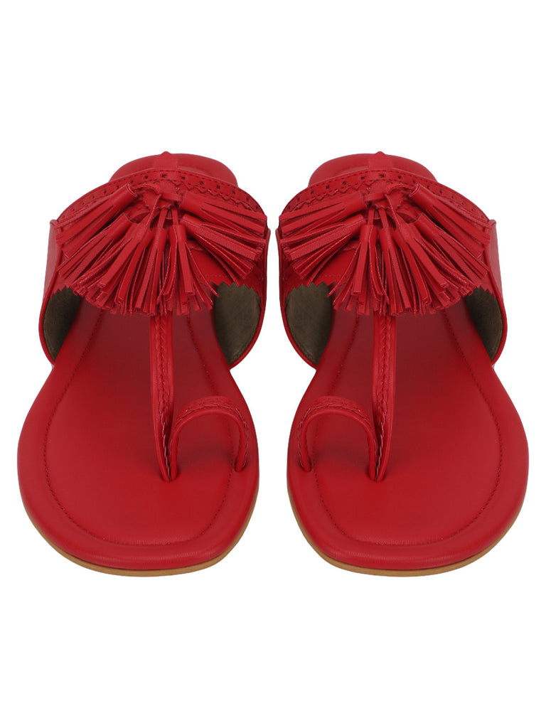 Red Leatherette Jhalar Flats