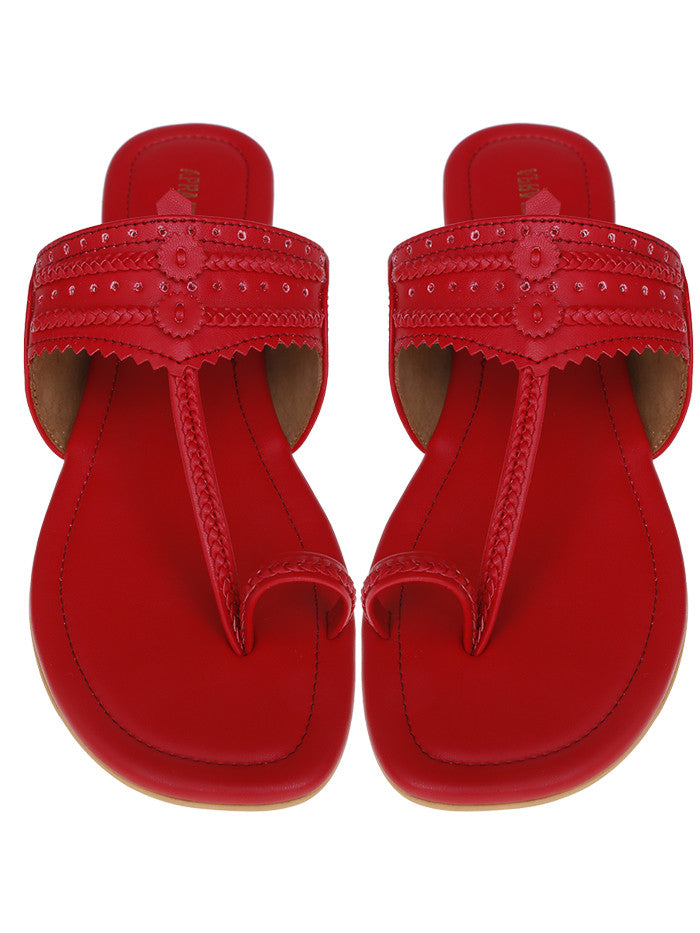 Red Leatherette Kolhapuris