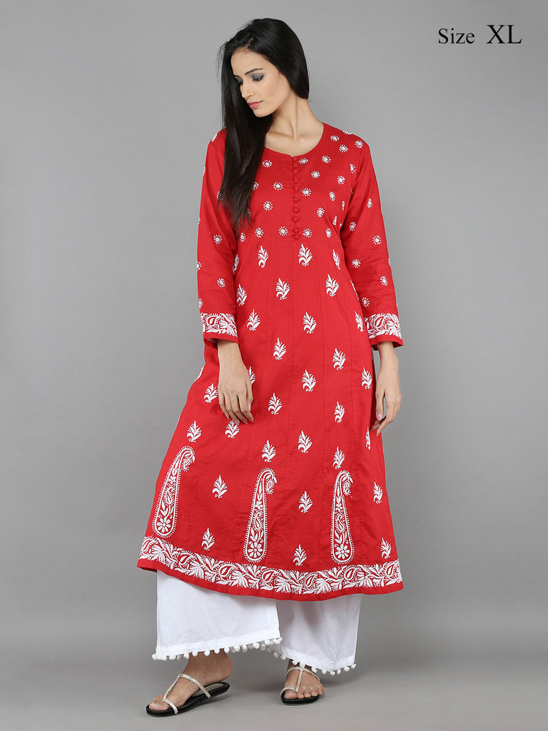Red Lucknowi Hand Emroidered Cotton Anarkali
