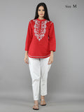 Red Lucknowi Hand Emroidered Cotton Shirt