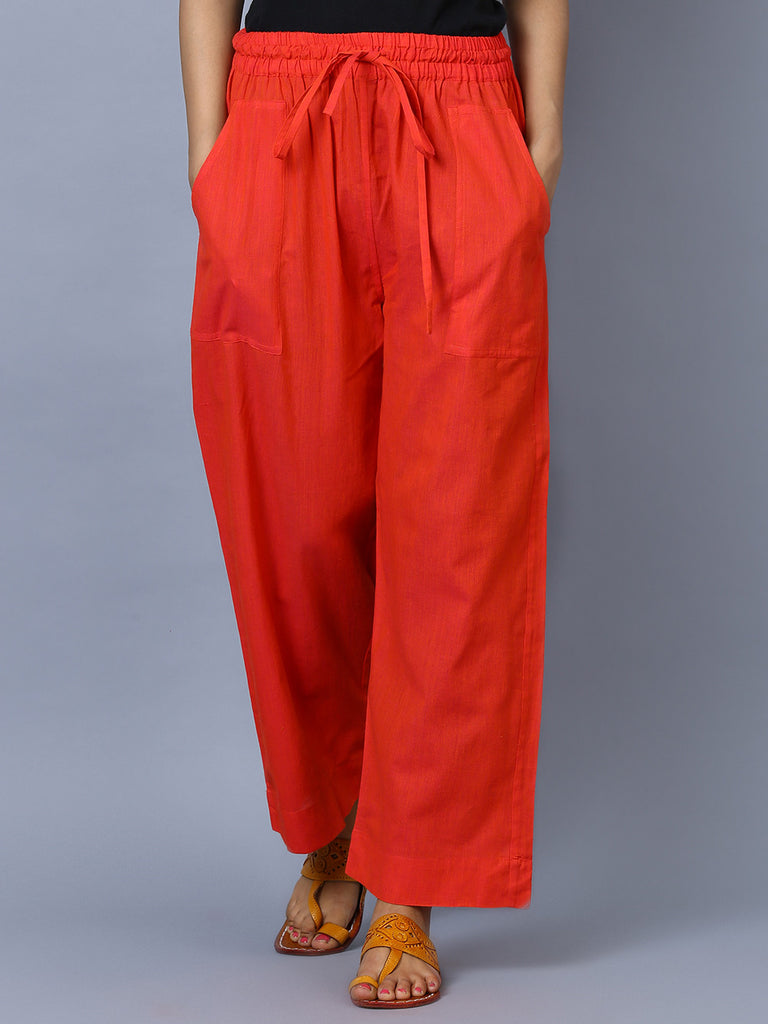 Red Mangalgiri Cotton Trousers