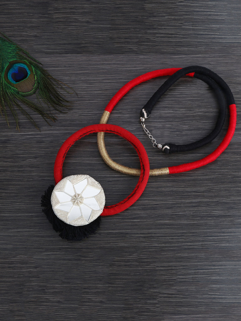 Red Mirror Thread Bamboo Hand Crafted Necklace
