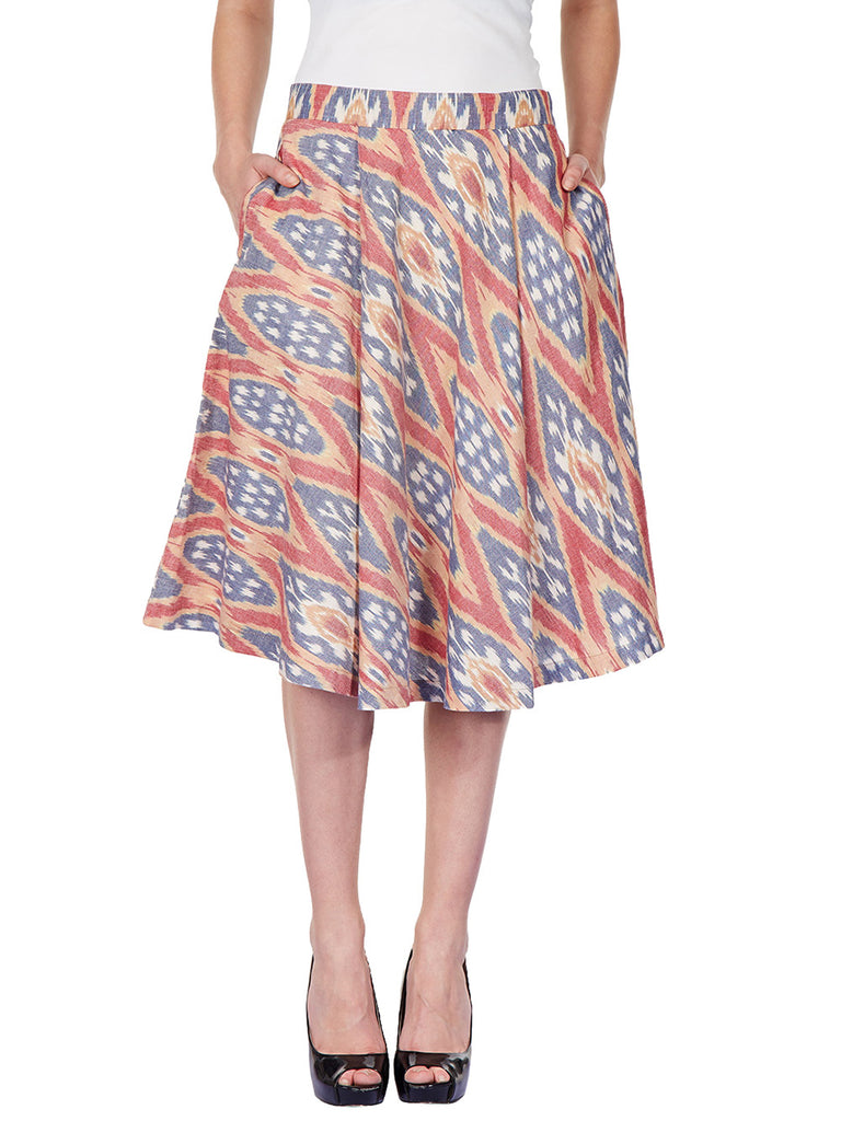 Red Multicolor Cotton Ikat Skirt
