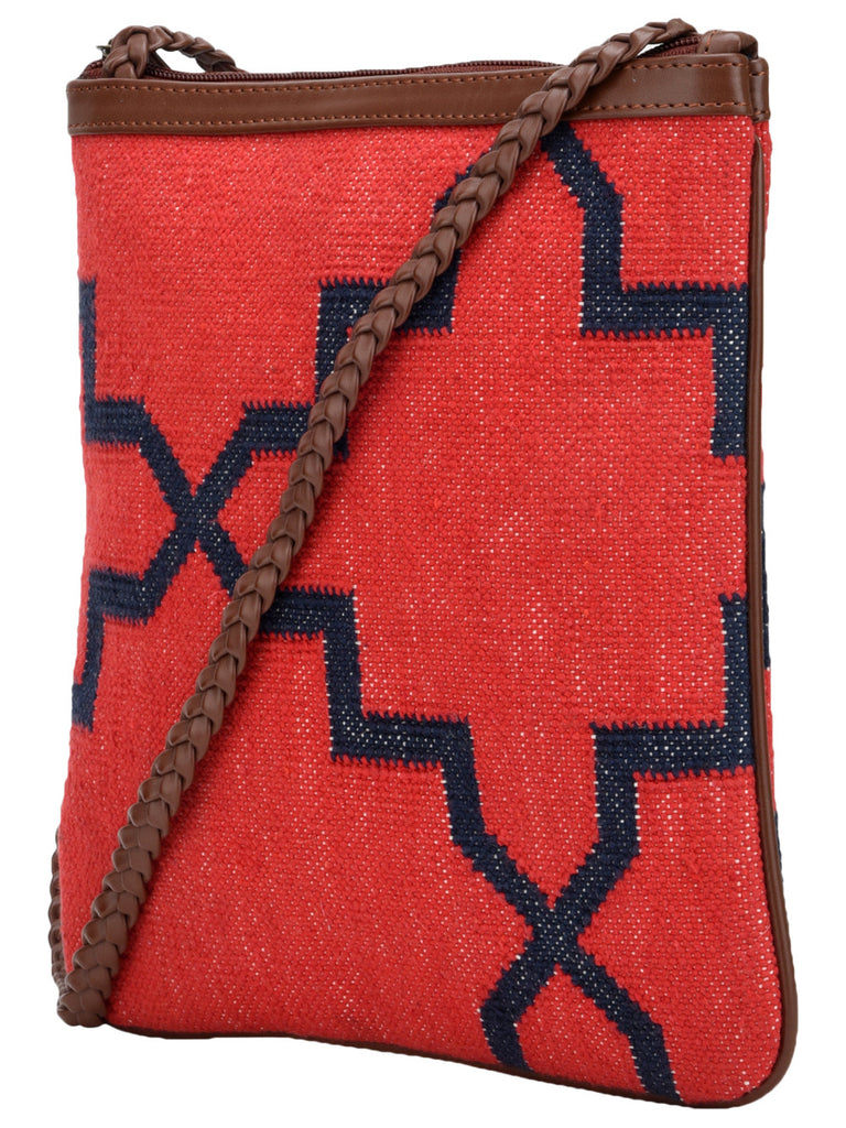 Red Navy Cotton Kilim with Faux Leather Jharokha U Sling Bag